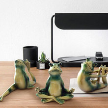 Modern Fashion Creative Yoga Resin Frog Prince Frogs 6pcs for The Home Decoration Training Room Ornaments Combination