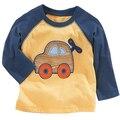 2017 crianças primavera Outono T-shirt longo das pichações carro meninos camisetas crianças tops tees roupas de criança