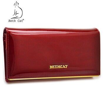 575b39dfd Beth gato cartera mujer largo mujer carteras monederos sólida de alta  calidad de cuero genuino bolsos de Hasp monedero Mujer