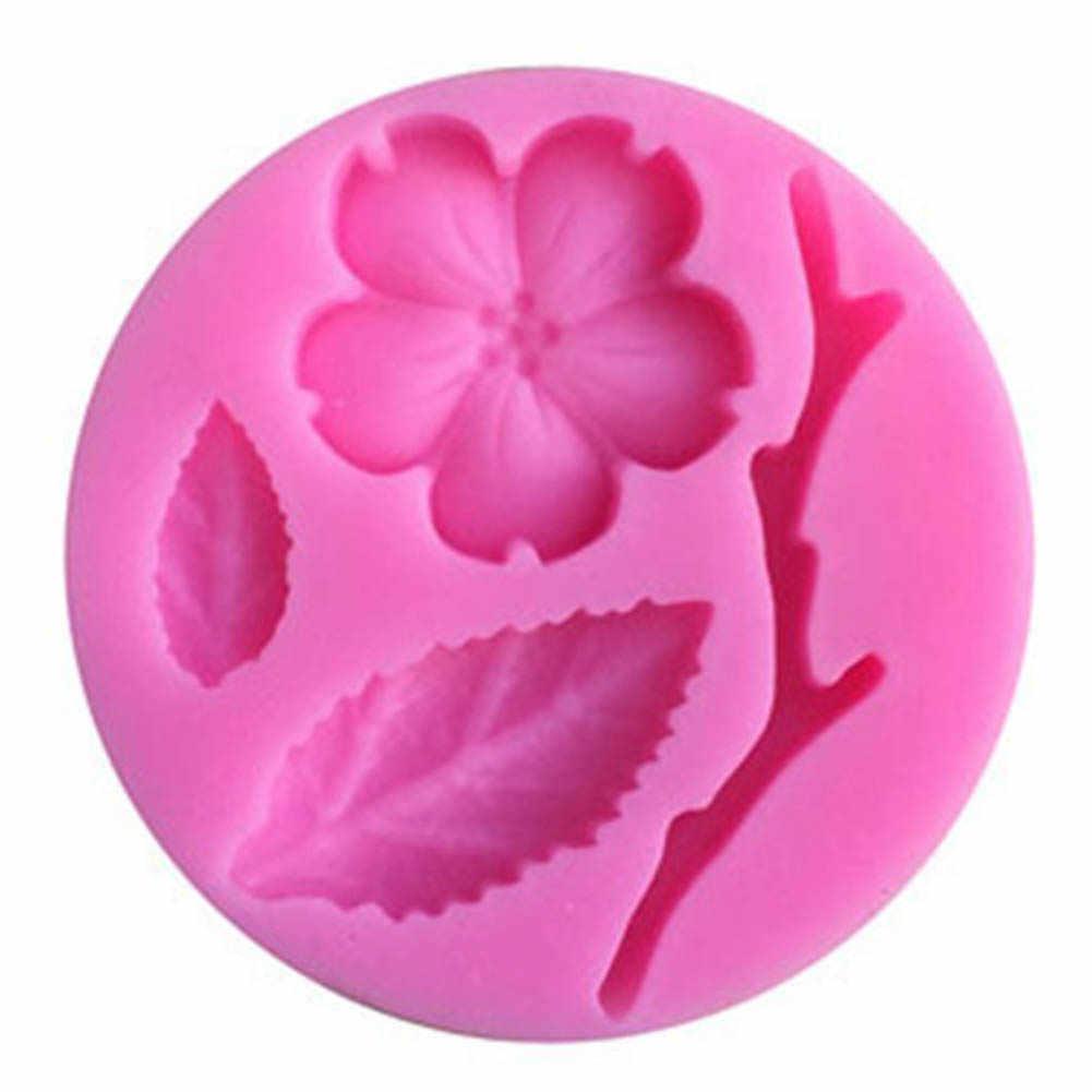Flor de pêssego Em Forma de Folha Molde de Silicone Bolo Decoração Fondant Bolo 3D Food Grade Silicone Mould