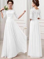 Long White Lace Tea Dresses Women's Half Sleeve Edwardian inspired Maxi Dresses