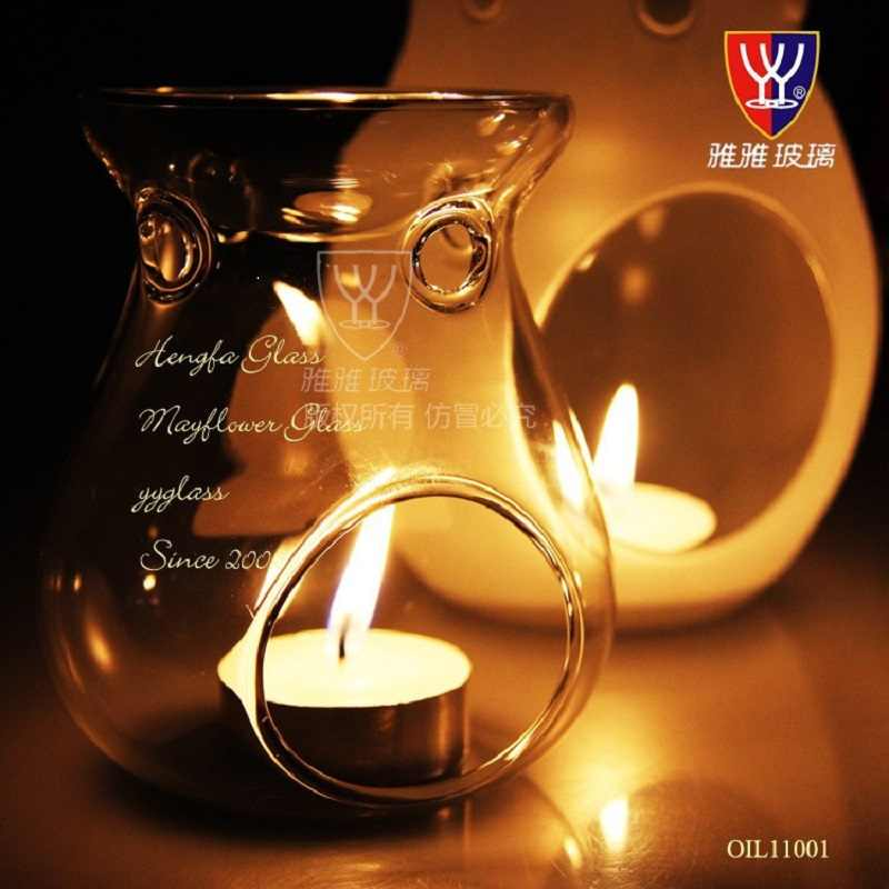 Romantic  Glass Aromatherapy Oil Lamp Candlelight Dinner Censer Burner Incense Burner Candlestick Home Decor Party Candle Holder