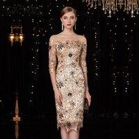 Новый ручной вышивки цветок High end ткань семь четверти рукав одно плечо Великолепная Для женщин вечерние платья