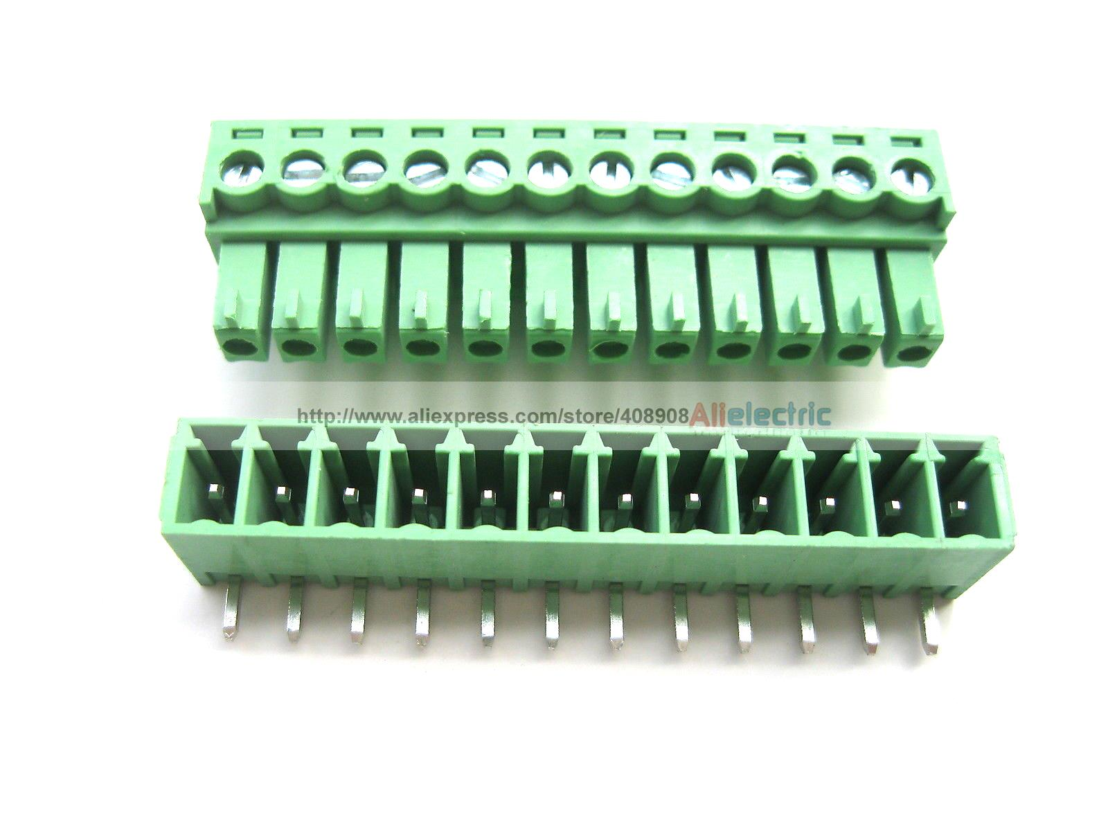 30 Pcs Screw Terminal Block Connector 3.5mm Angle 12 Pin Green Pluggable Type 30 pcs screw terminal block connector 3 81mm 12 pin green pluggable type