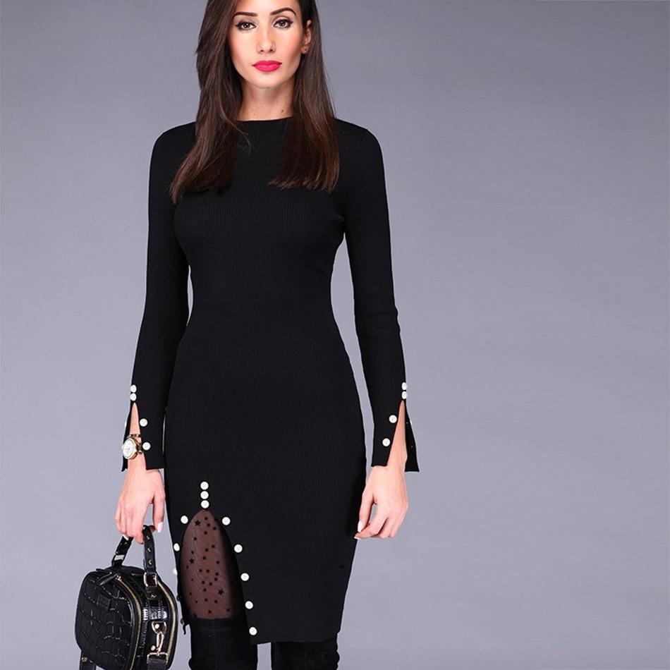 Bandage Dress O Neck Long Sleeve Vestidos 2019 New Elegant Autumn Celebrity Sexy Club Black Mid