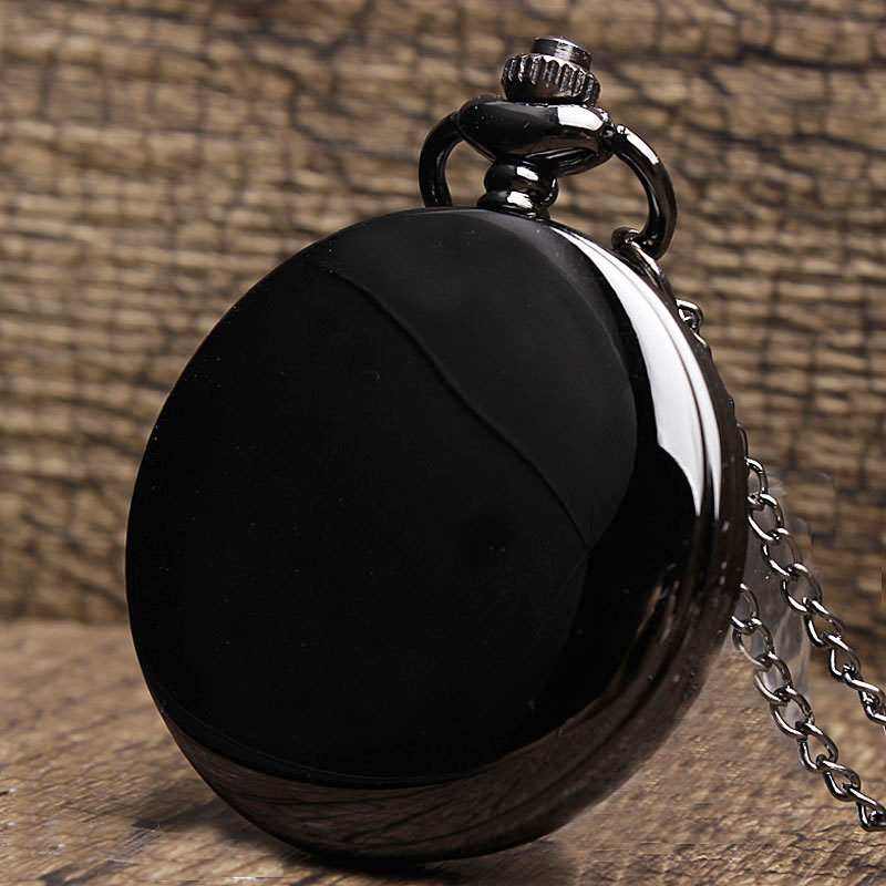 Classic Black Smooth Steampunk Pocket Watch Men With Fob Nacklace Chain Fashion Quartz Watch Mens Womens Gift reloj de bolsillo