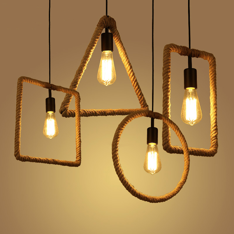 Retro Vintage Rope Pendant lamp bar pub dining room aisle corridor warehouse club restaurant cafe chandelier loft light fixture edison inustrial loft vintage amber glass basin pendant lights lamp for cafe bar hall bedroom club dining room droplight decor