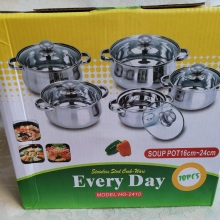 FREE SHIPPING  STAINLESS STEEL 10PCS Cooking pans SET inox cookware set kitchenware cooker set pots montherday gift *