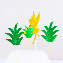 6pcs/lot Birthday Rainforest Party Cake Toppers Cupcake Topper Green plant Decorations Baby Shower Kids Favors