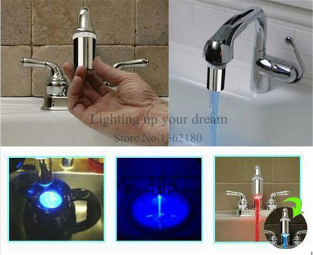 LED Water Faucet Light 7 color Changing Glow Shower Head Kitchen ...