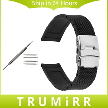 Caucho de silicona Watch Band para Oris Hombres Mujeres de Acero Inoxidable de Seguridad Cinturón de hebilla De La Correa 18mm 19mm 20mm 21mm 22mm 23mm 24mm