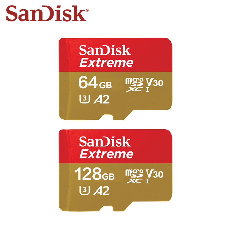 Scheda di Memoria SanDisk Extreme 64 gb 128 gb SDXC Max Velocità di Lettura 160 m/s Micro Carta di DEVIAZIONE STANDARD di U3 4 k a2 Flash Card SQXA di Memoria Microsd