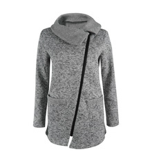 Women Hooded Long Sleeve Full Diagonal zipper Up Hoodie Sweatshirt Jacket with Pocket