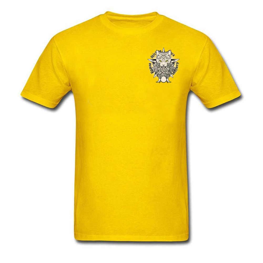 Sorcellerie chat décharge imprime Top T-shirts 2018 automne nouveaux hauts chemise société t-shirt 100% coton homme Top T-shirts en gros