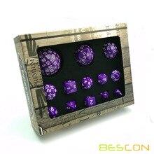 Bescon полный многогранный набор костей для ролевых игр 13 шт. D3-D100, 100 сторон Набор кубиков сплошной фиолетовый