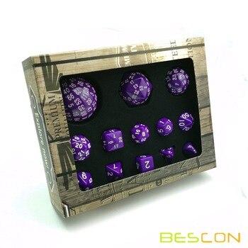 Bescon полный многогранный набор костей для ролевых игр 13 шт D3-D100, 100 сторон Набор кубиков солидный фиолетовый