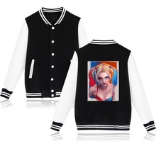 2017 Suicide Squad Harley Quinn women's jacket Fashion female jacket Sweatshirt Gotham Love Hurts Damaged and Jacket coat XXXL