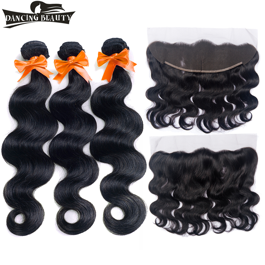 DANCING BEAUTY Pre-Colored Malaysian Hair Weave 3 Bundles Body Wave With Closure 13*4 Non-Remy 100% Human Hair Lace Frontal