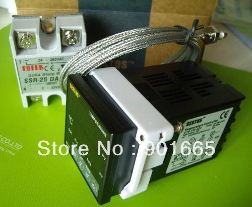 Sestos Двойной цифровой PID температура контроллер 2 Omron релейный выход черный D1S-VR-220 + K сенсор 25A да ССР термостат