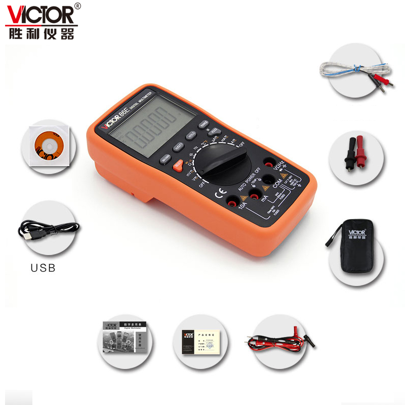 VICTOR multimeter VC86E 4 1/2 Digit Precision multimeter frequency capacitance temperature with USB cable upgrade VC97 my68 handheld auto range digital multimeter dmm w capacitance frequency