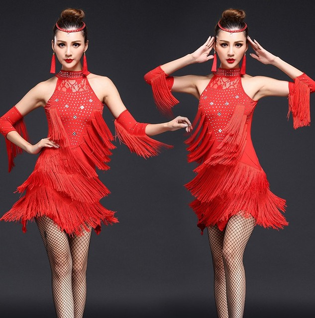 Salón de baile de la señora fringe latin dance dress competencia 2017 flamengo  vestidos mujer de cccc277b298b6