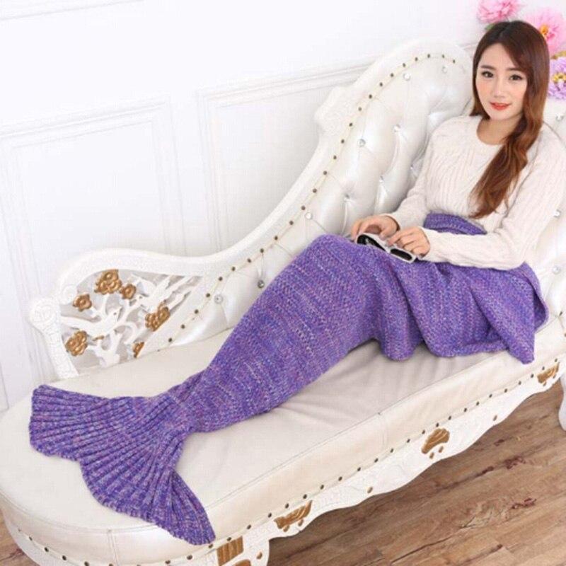 Yarn Knitted Mermaid Tail Blanket Soft Bedding Sofa Handmade Crochet Mermaid Blanket 195x95cm Fish Style Blanket For Autumn
