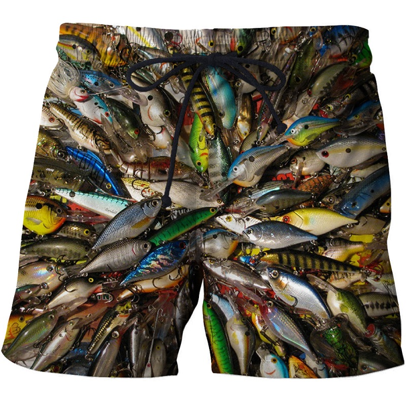 2019 summer men's fish-print beach   shorts   3D printed fashion men's   shorts   fitness pants Asian size s-6xl