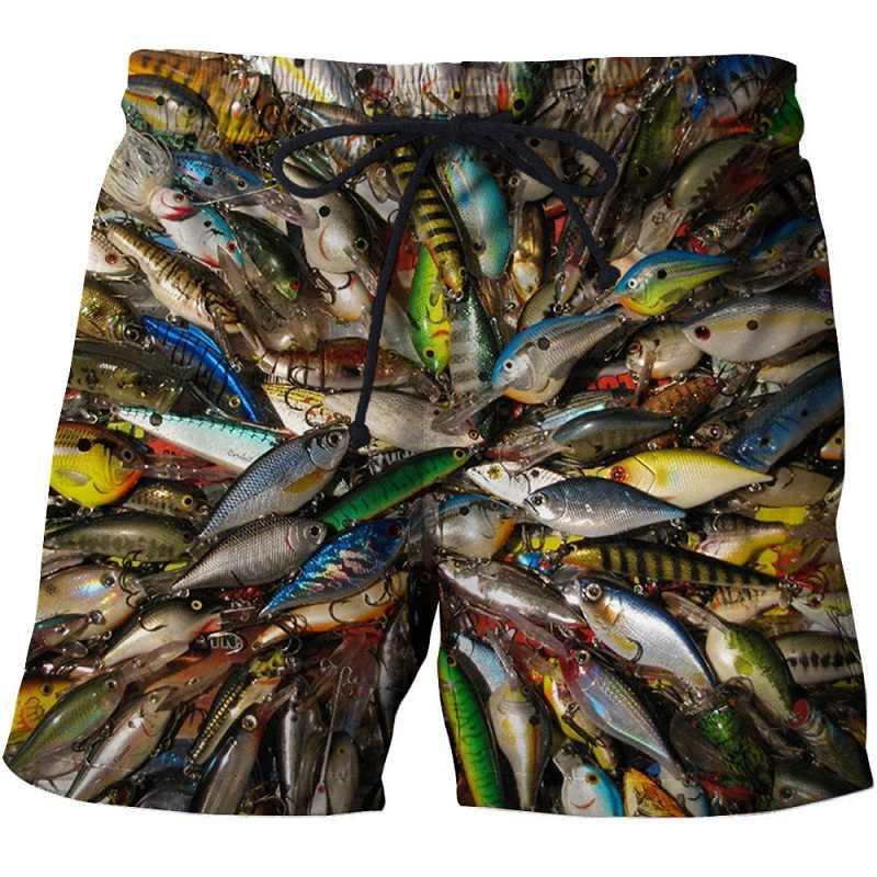 2019 verão masculino peixe-print praia shorts 3d impresso moda masculina shorts calças de fitness tamanho asiático s-6xl