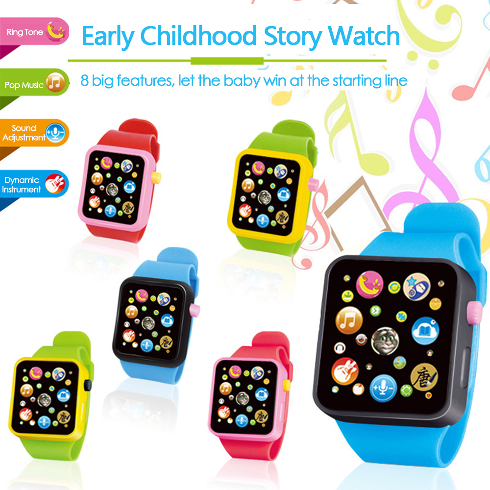 New Montessori Electronic Watch Toys For Kids 6 Colors Music Toy Clock Up Watch Funny Toy Plastic Digital Simulation Smart Watch