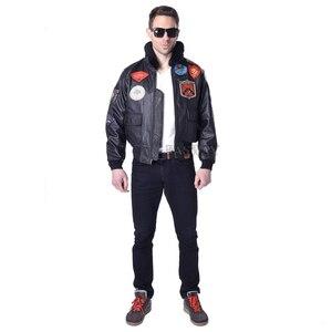 Image 2 - MAPLESTEED Mens Genuine Leather Jacket Men Cowhide Top Gun Flight Jacket Pilot Bomber Motorcycle Jacket Motor Biker Coat 142