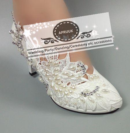 Grande taille ivoire dentelle perles mariée mariage chaussures mariée sans lacet HS374 orteils ronds plates-formes birdesmaid dames fête danse pompe