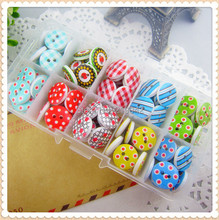 14HT62 ,10 color mix , 100 pcs, 15mm Cartoon flowers handmade diy accessories small wooden buttons, garment accessories(China)