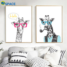 Cartoon Abstract Giraffe Hello Wall Art Canvas Painting Nordic Posters And Prints Pictures For Living Room Print Decor