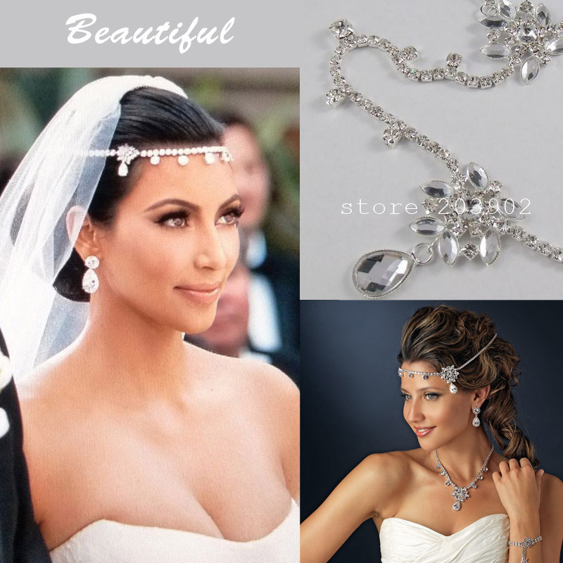 Celebrity Kim Kardashian Wedding Hair Accessories Bridal Jewelry Hair  Accessories For Wedding Rhinestone Flower Headbands 5MA8S4 31fbf96ad9a