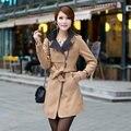Mulheres Trench Coat 2016 Outono Coreano Plus Size Cintura Fina Mulheres Casaco de Inverno Longo Elegante Outwear Roupas Da Moda Blusão