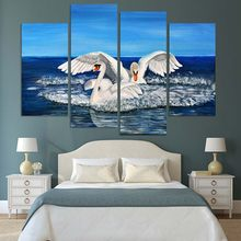 Canvas Painting Home Wall Art Pictures 4 Piece Two Big White Swans Spreading Out Its Wings Poster For Living Room Decor Framewor(China)