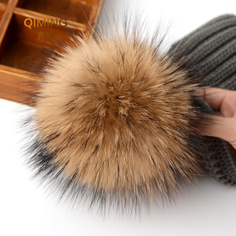 12-13cm Multicolor Real Raccoon Mink Fox Fur Ball Colorful Fur Winter Pom Poms For Shoe Bag Hat Fur Cap Accessories