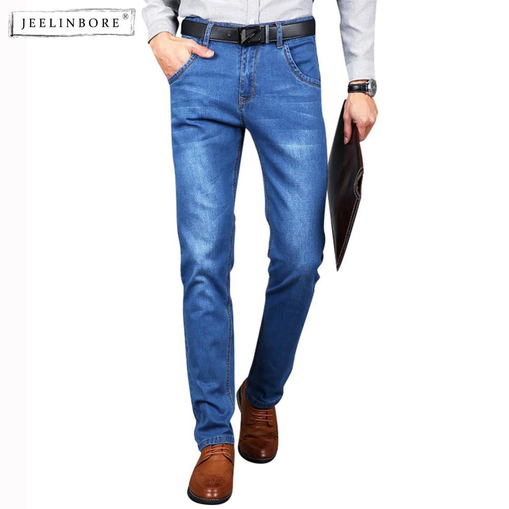 JEELINBORE Mens High Waist Jeans Cotton Thick Classic Stretch Jeans Male Denim Pants Summer Men Overalls