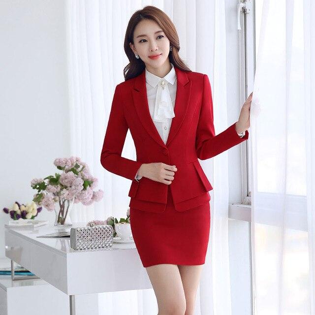 b183ade8 Diseño Profesional Blazer Trajes Con Chaquetas Y Falda Uniforme Formal de  Negocios Mujeres Trabajan Trajes de