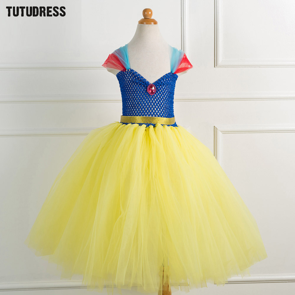 Snow White Girls Princess Dress Blue with Yellow Girls Birthday Party Tutu Dress Tulle Kids Girls Christmas Halloween Costume christmas halloween princess dress cosplay snow white dress costume belle princess tutu dress kids clothes teenager party 10 12