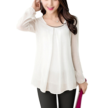 2017 NEW Women's Chiffon Long Sleeve Slim O-neck Casual Blouse Tops Shirt White