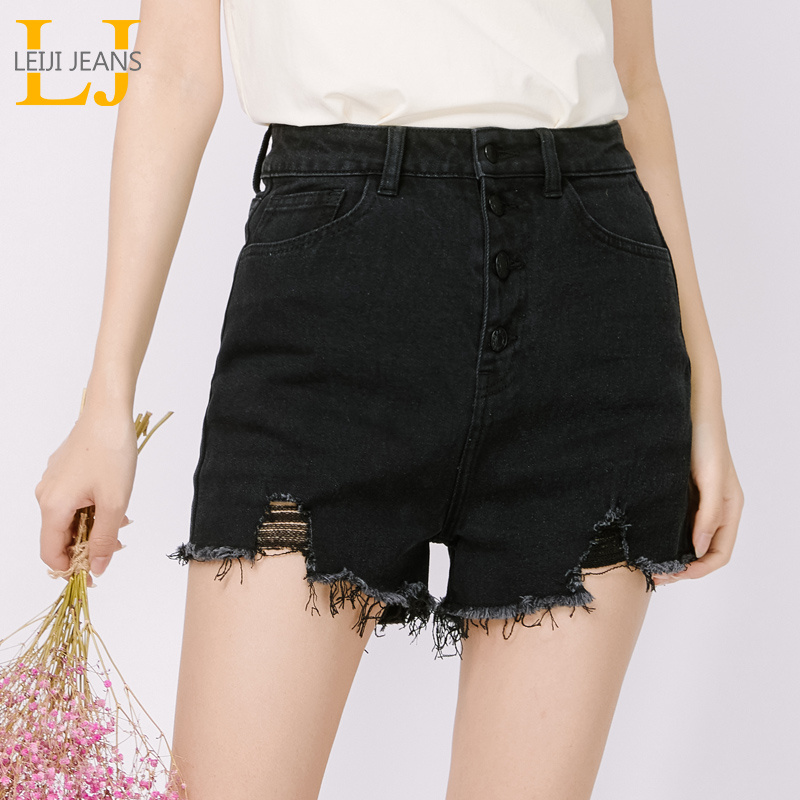 LEIJIJEANS new Women's street style high waist tassel hollow jeans summer plus size denim   shorts   button fly black jeans 9074