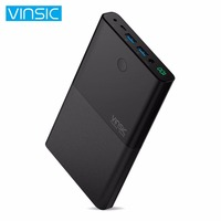 VINSIC 30000MAH Dual USB External Power Bank LED Screen Display DC Input Output Battery Charger Power Supply for Smartphones