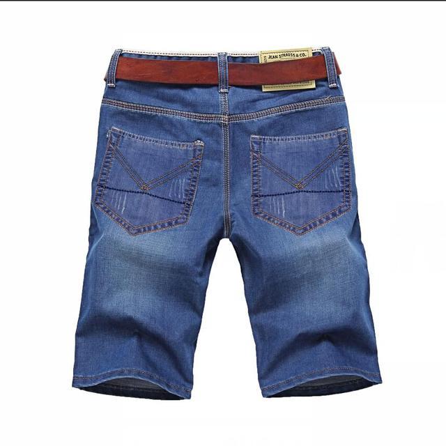 Solid Straight Denim Shorts  3