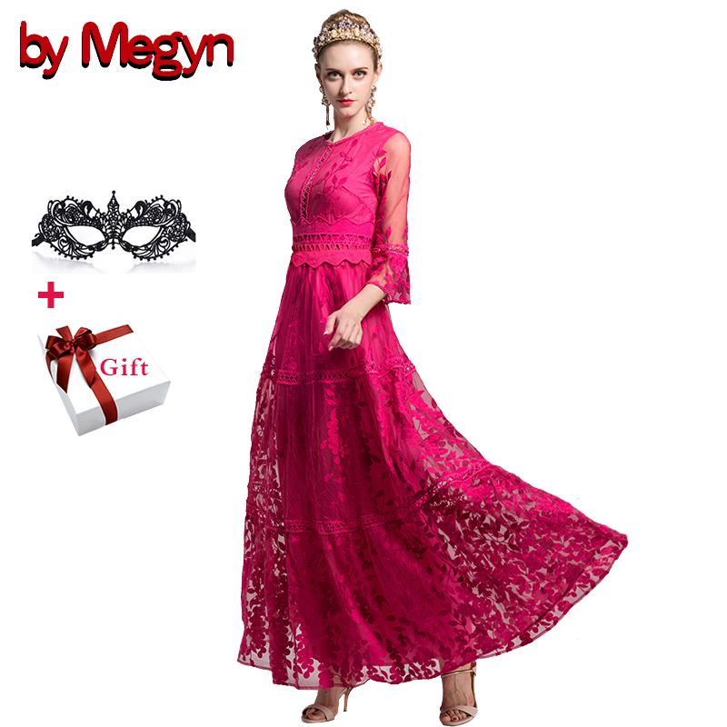 by Megyn women luxury embroidered elegant maxi dress flare sleeve a line dress female christmas party formal dresses vestidos