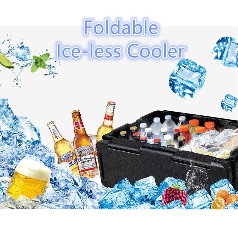 ТВ выставки складной Iceless охладитель сладкие угощения 60L складной изоляцией может Портативный Водонепроницаемый уличная коробка для хране...