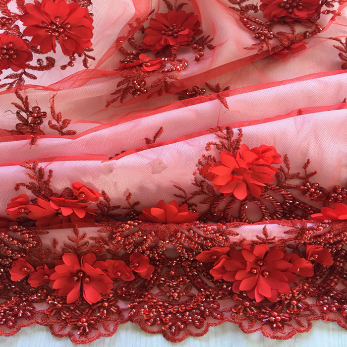 Lace Conscientious 1/5yards New Fashionable Heavy Beaded African French Lace Fabric With 3d Flowers On Tulle Embroidery Bridal Dress Lace Fabric Apparel Sewing & Fabric