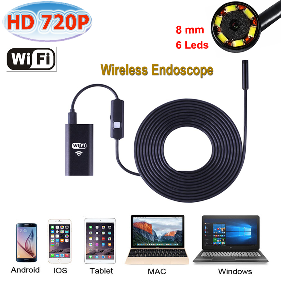 Stardot WiFi Endoscope Camera Waterproof 8mm Lens cable iphone endoscope camera IOS android with 6 led mini wifi endoscope free shipping 2pcs lot 20m 9mm lens mini camera with wifi box tm we9 android ios for iphone endoscope camera wifi pinhole camera