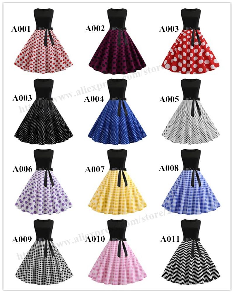 HTB1aHU.biLrK1Rjy1zdq6ynnpXaL Women Summer Dresses 2019 Robe Vintage 1950s 60s Pin Up Big Swing Party Work Wear Rockabilly Dress Black Polka Dot Vestidos