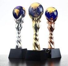 Купить с кэшбэком High quality!DIY New crystal trophy Creative metal trophy Crystal trophy souvenir Free lettering,Free shipping